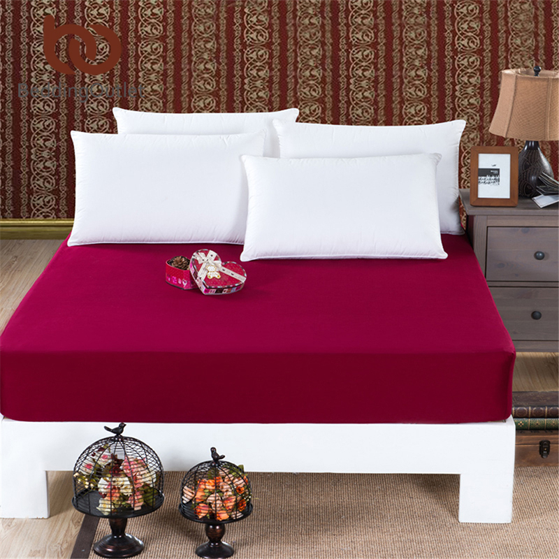 BeddingOutlet Mattress Cover Fitted Sheet Bedding Bed Sheet Bedding Solid Color Wine Red Mattress Protector Cotton 3 Size Hot