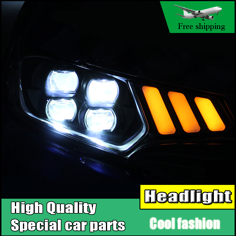 Car Styling Headlight For Honda Fit GK5 headlights 2014-2016 head lamp LED DRL front light with Lens four eye Led Light hot selling 360 degree cob led devil eyes headlights demon eye for 3 0 inch car headlight projector lens ring car styling