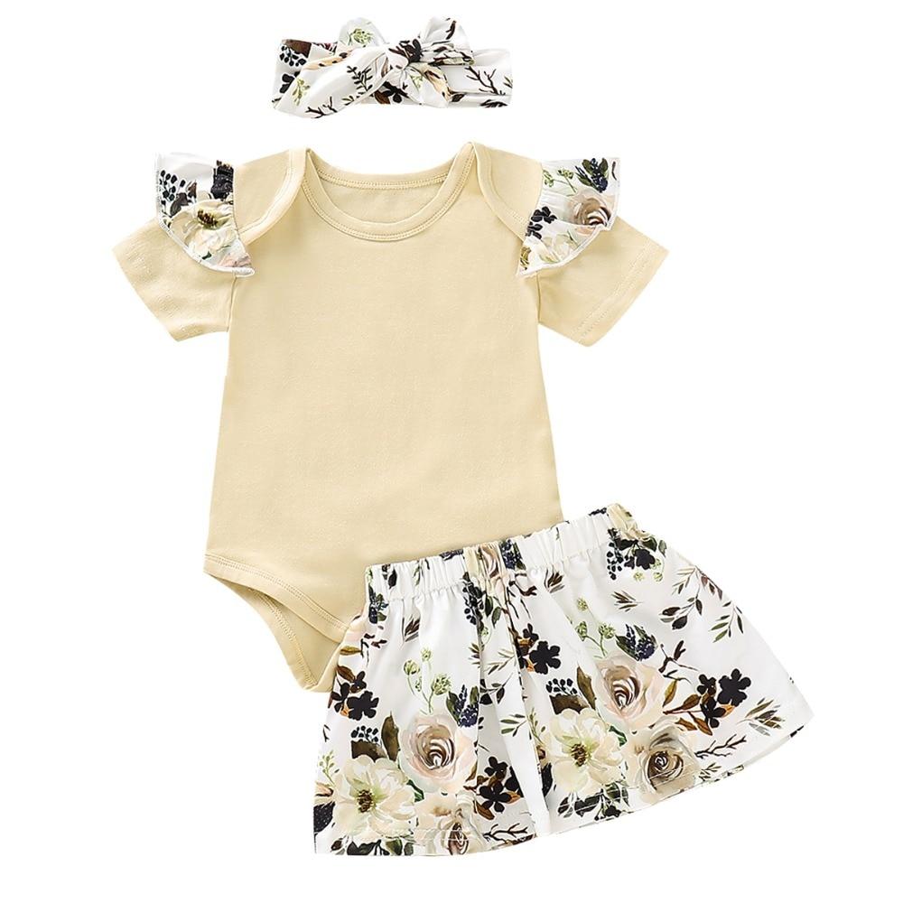 3pcs Toddler Kids Baby Girl Floral Princess Sunsuit Clothes Summer Girls Tassels Bow Tops Romper Tutu Dress Skirts Clothing
