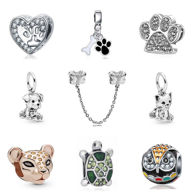 2019 New Original Bead Alloy Cat Dog Pet Lion Owl Animal Charms Enamel Fit Pandora Bracelet Bangle Necklace DIY Women Jewelry