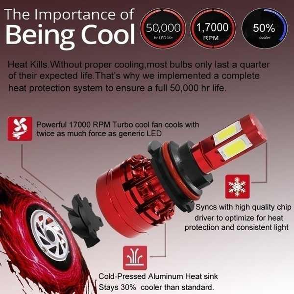 HENYNET Super Bright 4-Sides LED Headlight Kit White H4/HB2/9003 H7 H11/8/9 H13 9004/HB1 9005/HB3 9006/HB4 9007/HB5 H16 5202