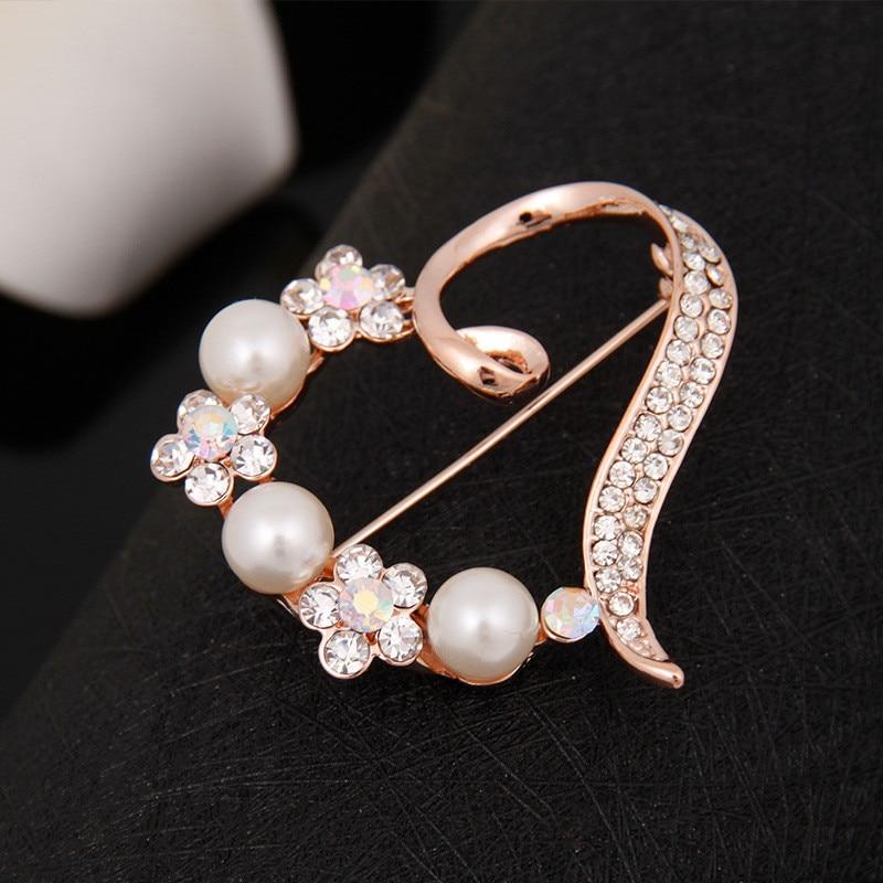 Silver Crystal Faux Pearl Flower Rose Diamante Rhinestone Brooch Pin Scarf
