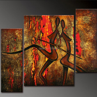 Cheap Handmade African Nude Couple Back to Back Wall Art 3 Pieces Nude Oil Painting on Canvas Wall Artwork for Home Decoration