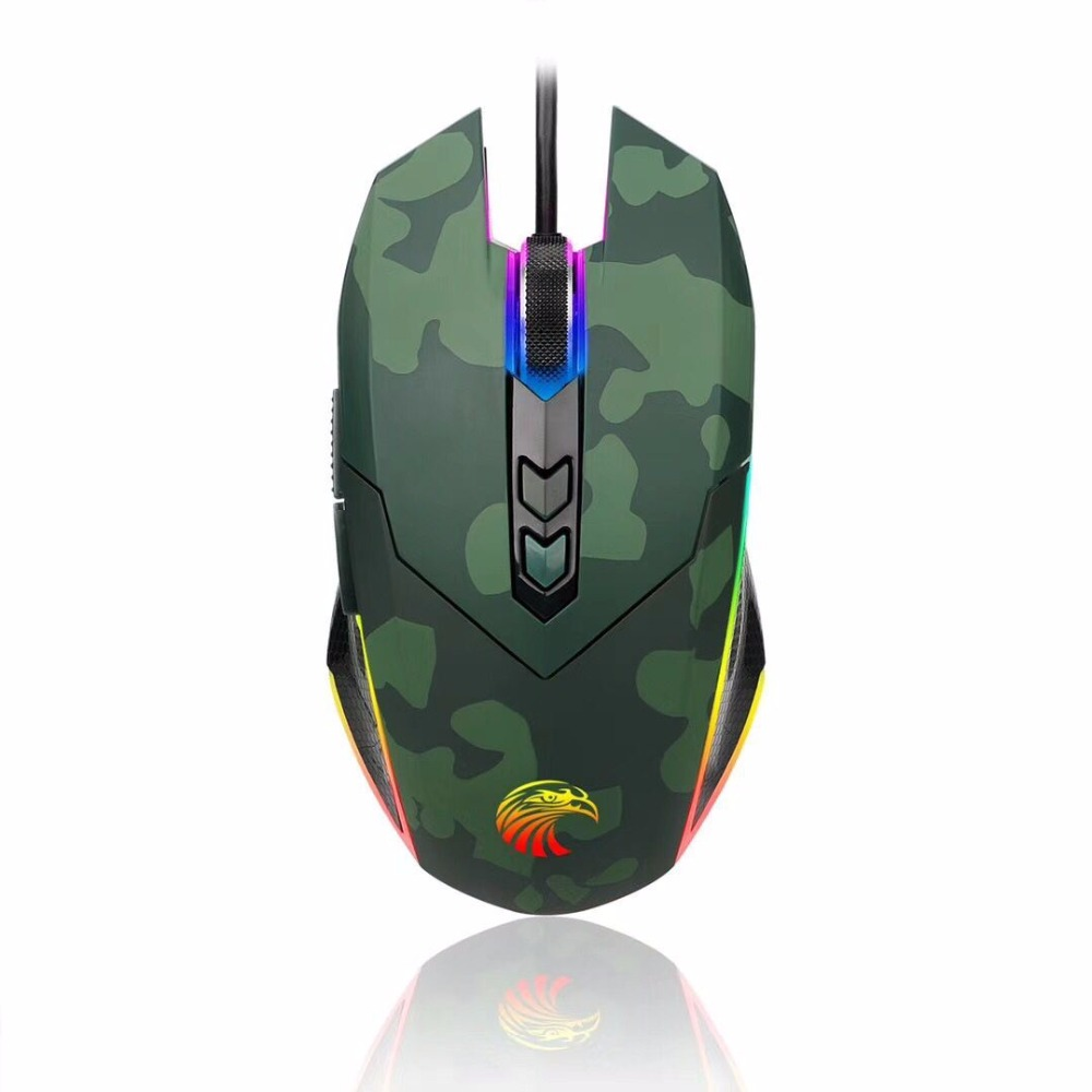 Camouflage <font><b>5000DPI</b></font> Gaming Mouse with 6 Auto-Changing Color's for Computer/PC/Laptop USB Wired Mouse 6 Adjustable DPI Levels image