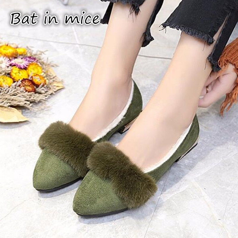 2018 Autumn Winter Shoes Flat Heel Slip On Real Fur Flats With Low Platform Women Casual Shoes Z328 slhjc 2017 autumn flat heel shoes pointed toe women flats with metal chain real fur loafers work shoes d25