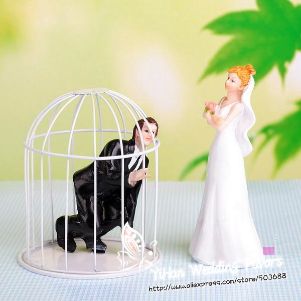 New Funny Couple Groom in Cage Wedding Cake Topper Cake Accessories ...