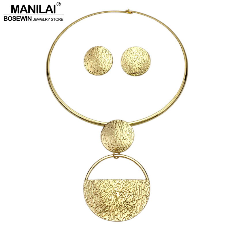 MANILAI Punk Gold-Color Geometric Metal Fashion Jewelry Sets For Women Choker Necklaces Earrings Set Statement Collier bijoux manilai trendy metal hollow torque choker necklaces women indian punk geometric collar statement necklace jewelry accessories