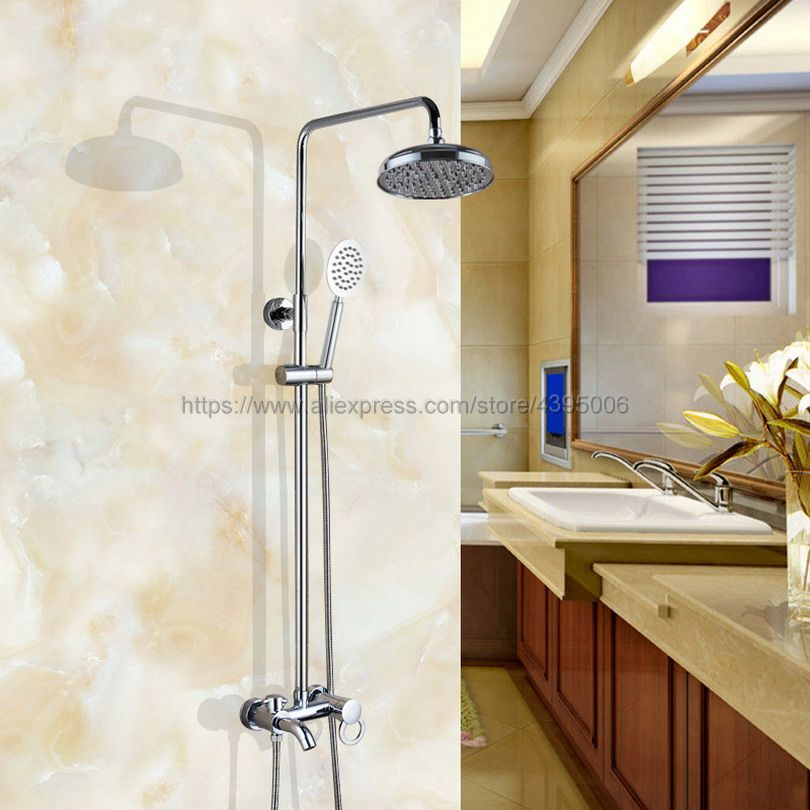 Bathroom 8 Rainfall Shower Faucet Set Single Handle Bath Shower Mixer Taps Wall Mounted with Handshower Bcy338 black bathroom 8 rainfall shower faucet set double handle brass bath shower mixer taps wall mounted with handshower brs705