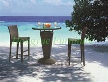 Patio brown rattan bar table chair set furniture designs sale