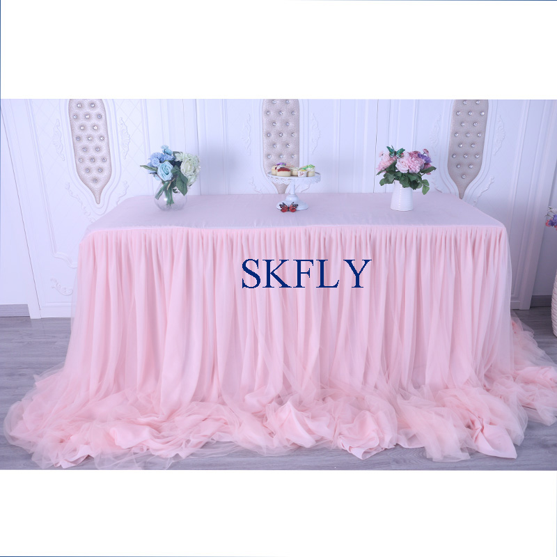 CL072 gorgeous custom made many colors new fancy wedding long drape rulled blush pink table skirt