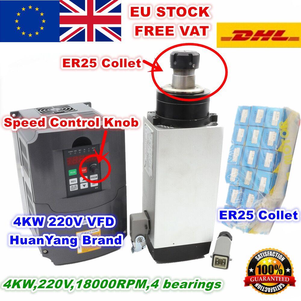 [STOCK ue/tva gratuite] 4KW carré moteur de broche refroidi par Air ER25 4 roulements + 4KW VFD onduleur + ER25 pince gravure fraiseuse
