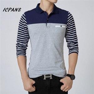 Image 2 - ICPANS الرجال قميص بولو مخطط طويل الأكمام قمصان بولو الرجال سليم صالح حجم كبير 5XL 2018 Hot البيع ربيع الخريف قمصان بولو للرجال