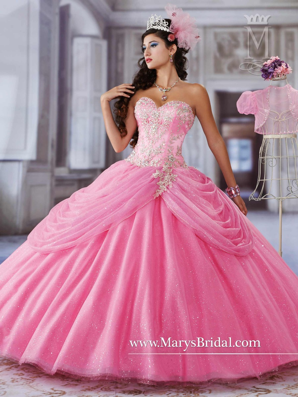Romance 2016 Quinceanera Dresses Beaded Embroidery Hot Pink Sweet 16 ...