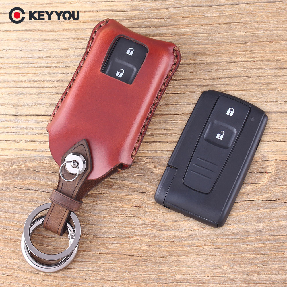 цена на KEYYOU 2 Buttons Leather Car Key Case Shell Fob For Toyota PRIUS COROLLA VERSO Camry Replacement Smart Key Card TOY43 Cover