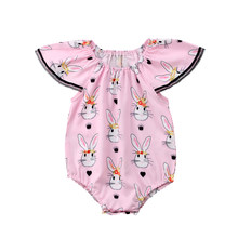 b5de264087 2018 NEW CANIS Baby Girls Clothes Bodysuit jumpsuit Pink Bunny Sunsuit  0-18M fashion simmer pink print lovely cute CH