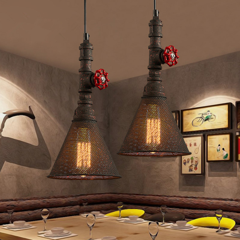Loft Retro Industrial Wind Water Pipe Chandelier Romantic Cafe Bar Iron Creative Personality E27 Restaurant LED Lights contemporary and contracted creative personality retro art glass chandelier cafe restaurant study lamps act the role of milan
