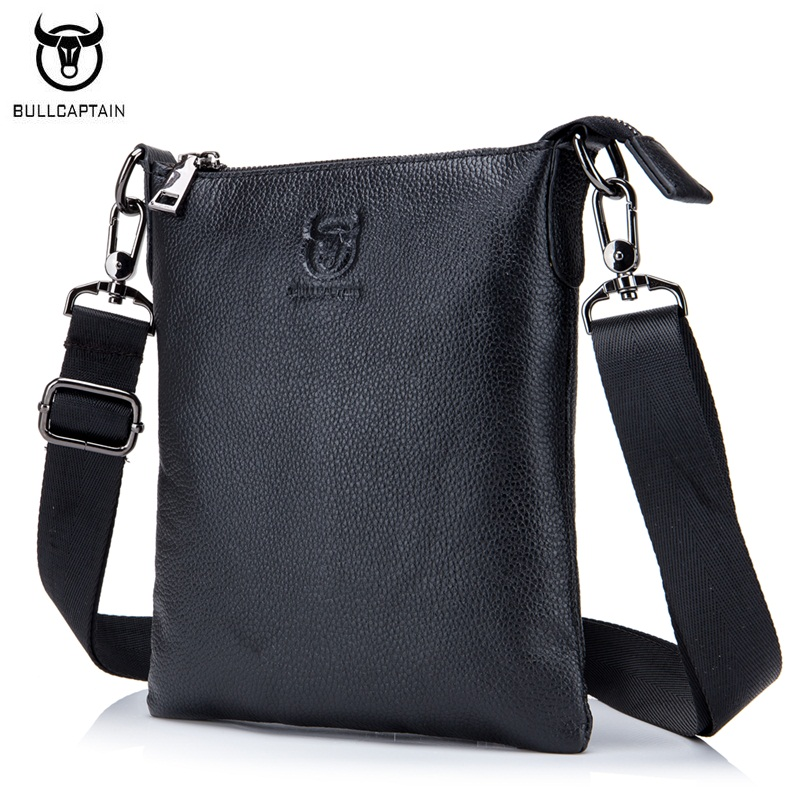 BULLCAPTAIN Casual Men Bag Genuine leather Small Shoulder Bags High Quality Cowhide Men Messenger Bag Brand Crossbody Bags Black dongfang miracle high quality genuine leather men messenger bags casual shoulder bag male multifuntional small bag