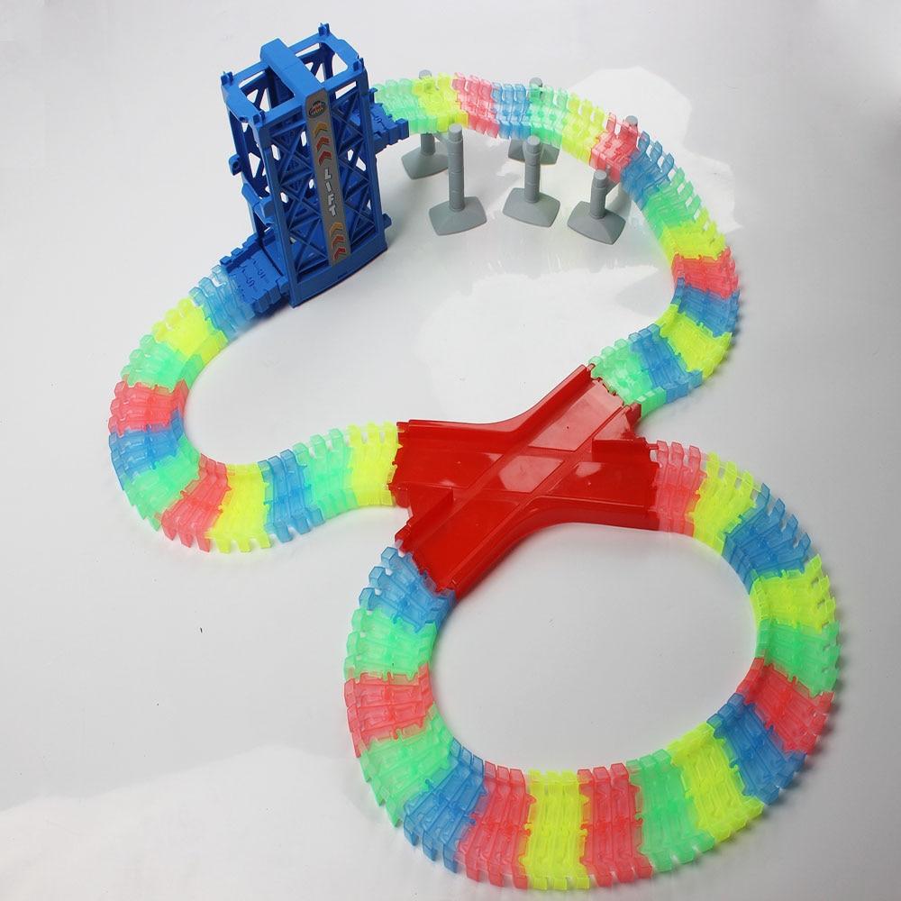 240pcs Racetrack Collection LED Car Toys Roller Coaster Mini RaceTrack Toys Kids Bend Flexible Track Twist Racetrack Railway