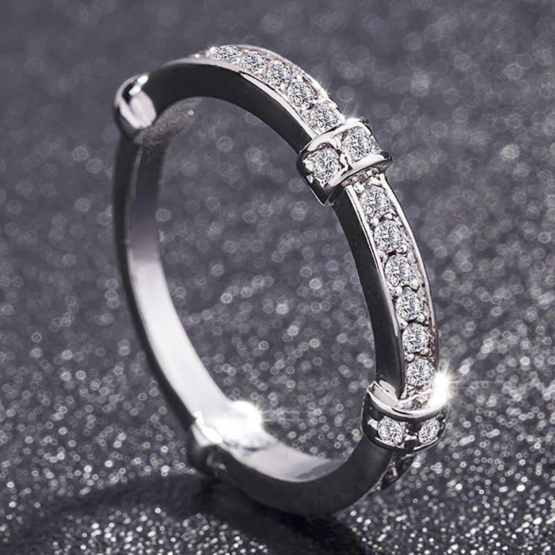 2/pcRetro יוקרה סט טבעות טופז חן קריסטל צבע כסף אירוסין טבעת לנשים פרח להקות תכשיטי בסדר גודל 6-10