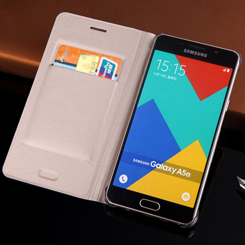 Slim Leather Wallet Case Flip Back Cover Shell With Card Holster Holster Phone Mask För Samsung Galaxy A5 2016 A510 A510F A510H