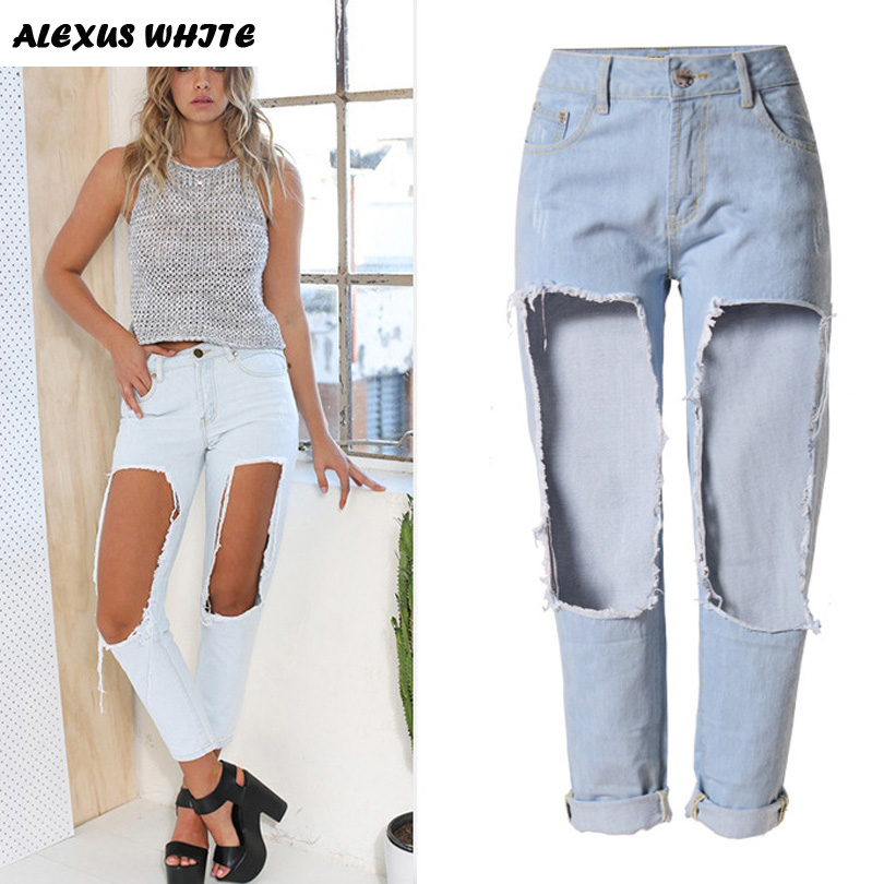 Straight Jeans 2018 Women s Boyfriend Style Hole Denim Trousers Female Loose Casual Ripped Pants