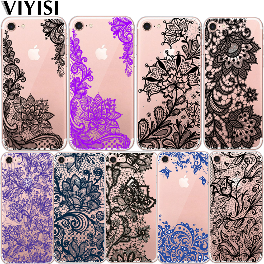 VIYISI For Lace Flower Apple IPhone 7 8 X 6 6S Plus case 5 5S SE Phone Case Sexy Mandala Floral Cover Soft TPU Coque Shell