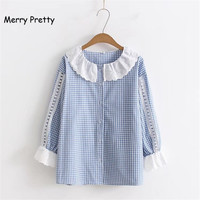 Merry Pretty Women Sweet Plaid Shirt Flare Sleeve Lace Peter Pan Collar Cotton Blouses Female White
