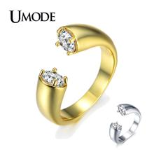 UMODE 2019 Fashion Gold Color Zircon Crystal Open Rings for Women Ajustable Wedding Engagement Jewelry Anillos Mujer AUR0220A