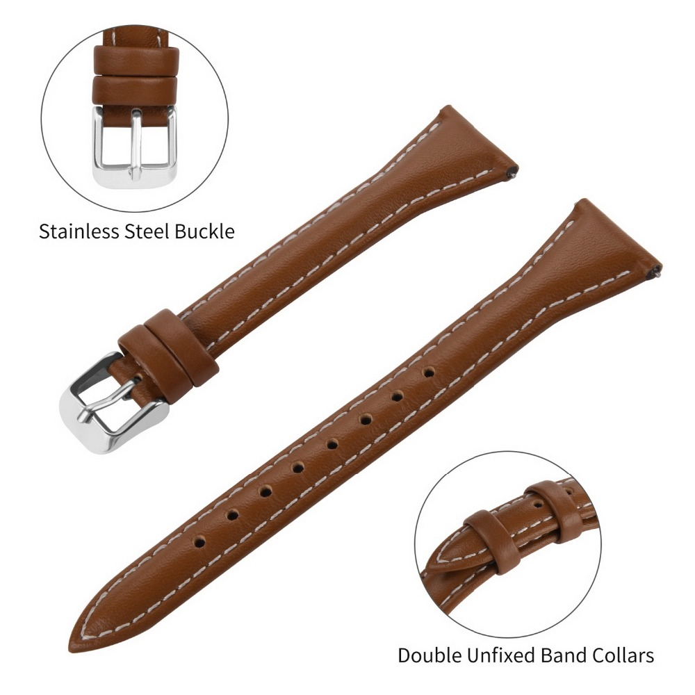 Image 4 - Fullmosa Sliim Leather Watch Band, Classic Narrow Leather Watch Strap with Quick Release for Men Women 18/20/22mm 5 Colors-in Watchbands from Watches