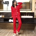 Hot sale spring sexy 100% cotton women pijamas Long sleeve cozy women pajamas sets high quality candy color sleepwear for women
