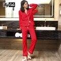 Venta caliente de primavera sexy 100% algodón de las mujeres pijamas de manga Larga cozy mujeres ropa de dormir pijamas conjuntos de alta calidad del color del caramelo para mujeres