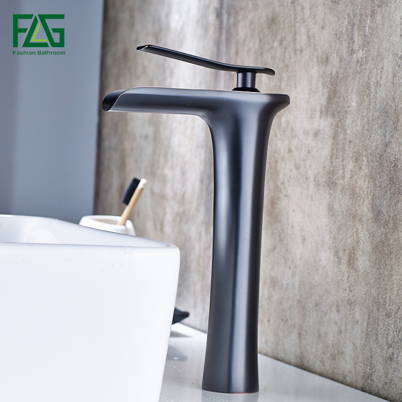 FLG Basin Faucets Modern ORB Bathroom Faucet Waterfall faucets Single Hole Cold and Hot Water Tap Basin Faucet Mixer Taps newest washbasin design single hole one handle bathroom basin faucet mixer tap hot and cold water orb chrome brusehd