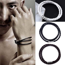 Fashion Simple Woven bracelet 1 piece couple Magnetic Clasp Men Gift Braided Leather Steel rope