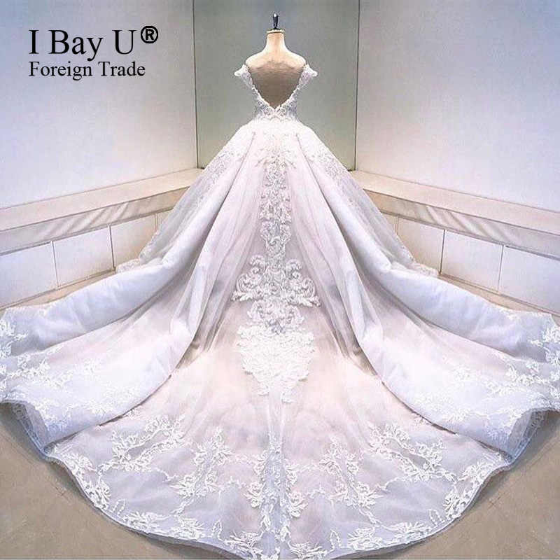 Perła frezowanie satyna w kolorze kości słoniowej suknia ślubna w stylu Vintage Vestidos De Noiva De Luxo 2020 seksowne suknie ślubne turcja dubaj luksusowy styl