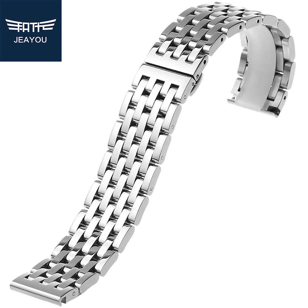 Correa de reloj de acero inoxidable de alta calidad JEAYOU 20mm 21mm 22mm correa de reloj para Tissot con botón de instalación para hombres