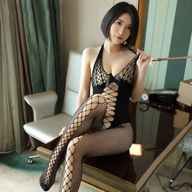 2018 Womens Erotic Lingerie Perspective Halter Bodystockings Black Deep V Hollow Open Crotch Fishnet Tights Bow Sexy Stockings