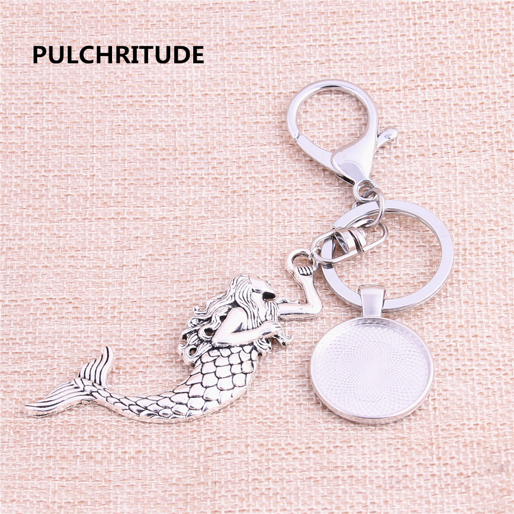 PULCHRITUDE 3pcs 25mm Inner Size Rhodium Color Cameo Setting Base Handmade Cameo Setting Metal Mermaid Key Chains Accessor Y1011
