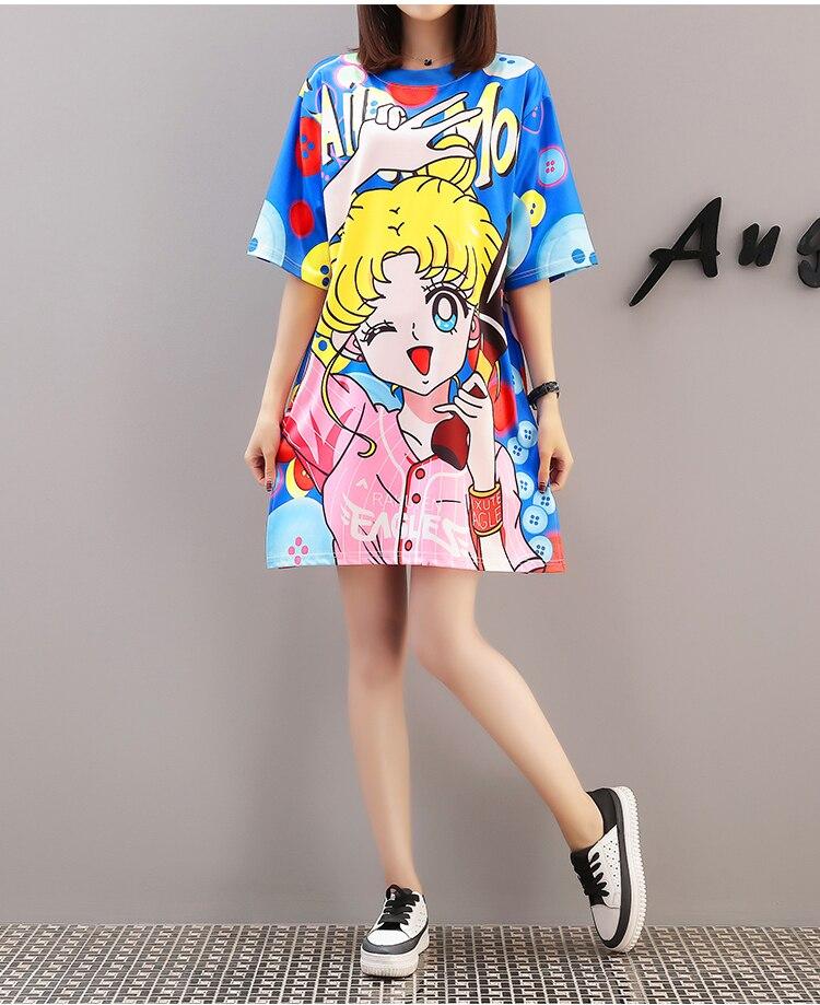 Cool Summer Harajuku Sailor Moon T Shirt Dresses