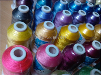 Free shipping popular 61 Brother colors machine polyester embroidery thread 1000m/cone polyester filament yarn