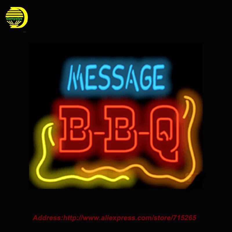 2017 Custom Message BBQ Neon Sign Glass Tube Handcrafted Recreation Display Shop Advertise Iconic Sign personalized Sign 32x27