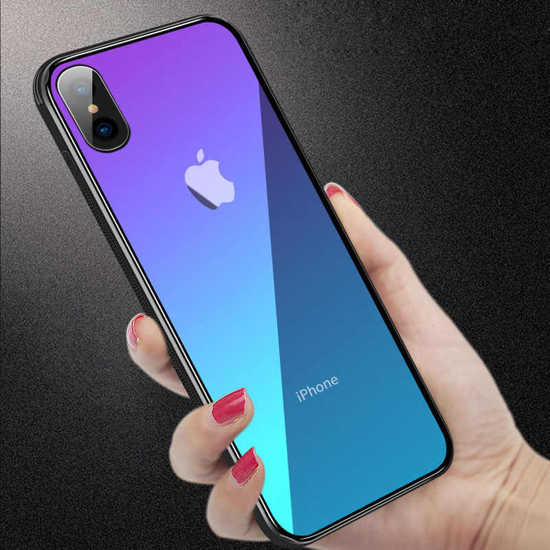 For iPhone 11 Pro Max Case Gradient Color Aurora Tempered Glass Case For iPhone XS Max XR XS X 7 8 6 6S Plus 11 Pro Hard Capa