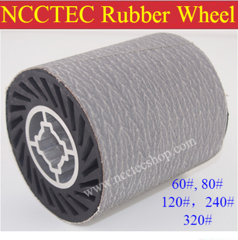 grit 240 NCCTEC Stainless steel wire drawing RUBBER wheel brush with aluminum core   install 1 pcs of white sand sanding belt