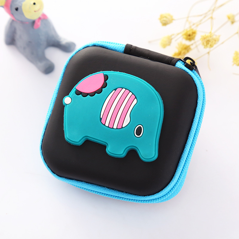 Kawaii Animals Elephant Silicone Coin Purse Cute Cartoon Earphone Holder Mini Key Bag Gifts Boy Girls Change Wallet Coin Wallets cute cartoon women bag flower animals printing oxford storage bags kawaii lunch bag for girls food bag school lunch box z0