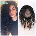 7A Grade Deep Curly 360 Lace Frontal Closure With Baby Hair ,Brazilian Virgin Human Hair 22*4 360 Lace Band Frontal Cloure