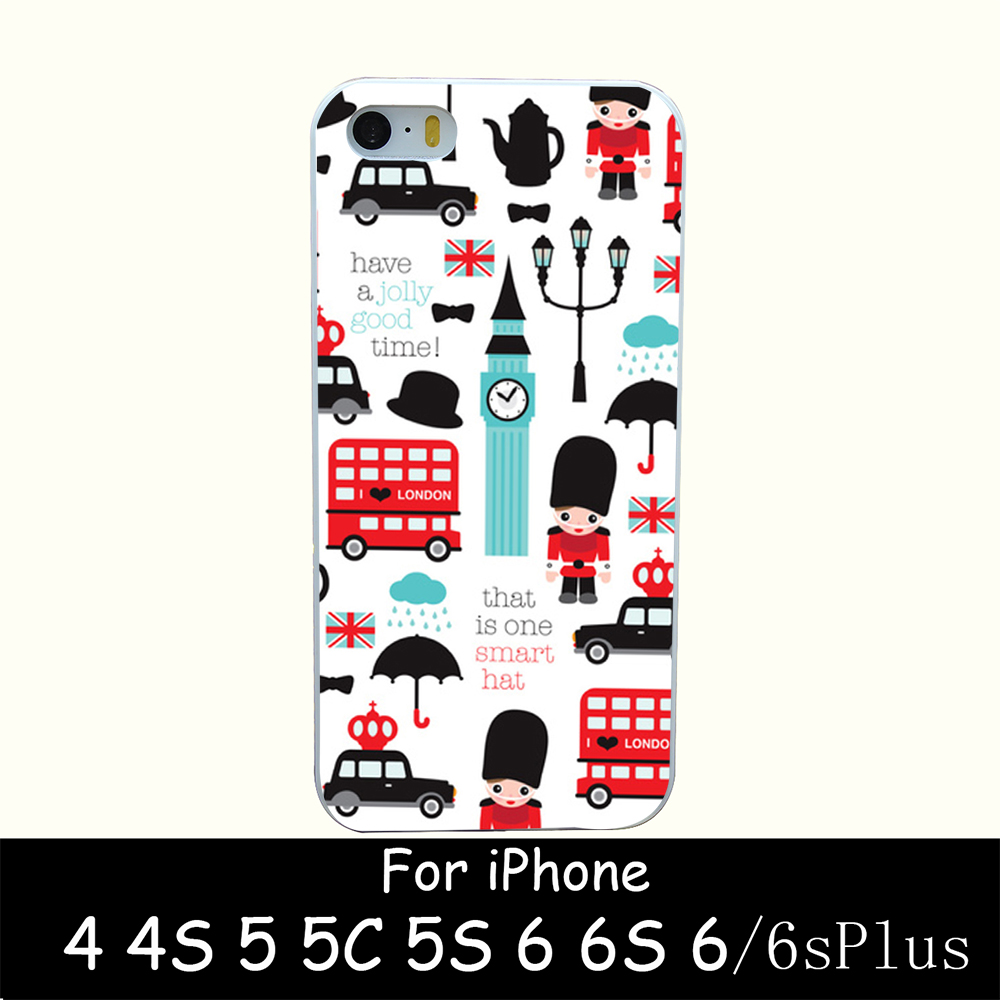 london icons illustratio hellip Style Hard White Case Cover for iPhone 4 4s 5 5s 6 6s 6 plus Back Print Design
