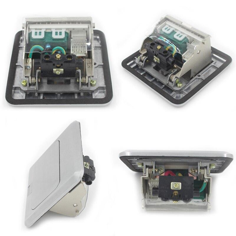 JOHO boîtier de sortie rapide en alliage d'aluminium 15A US prise 2 pôles RJ45 HDMI USB - 4