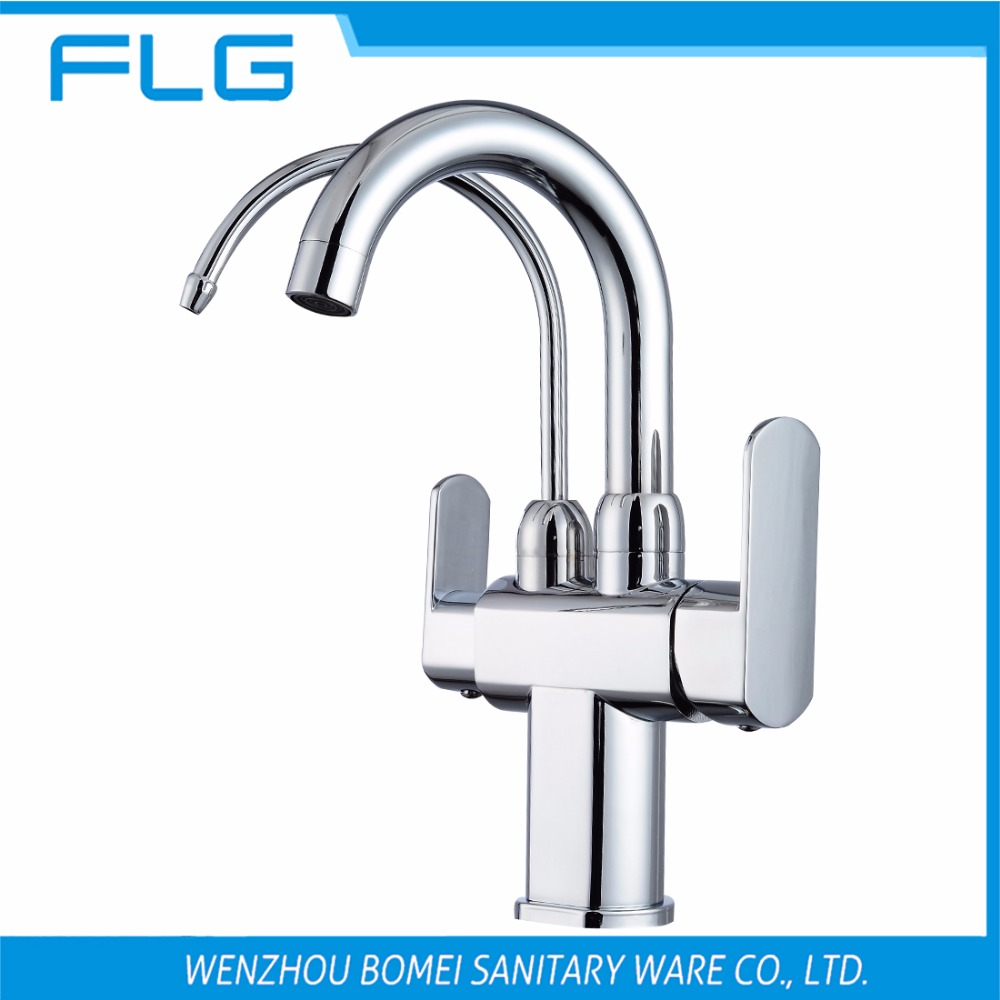 Free Shipping Brand NEW Kitchen Sink Faucet Tap Pure Water Filter Mixer Double Handles Double Spout Chrome Kitchen Mixer Taps golden brass kitchen faucet dual handles vessel sink mixer tap swivel spout w pure water tap