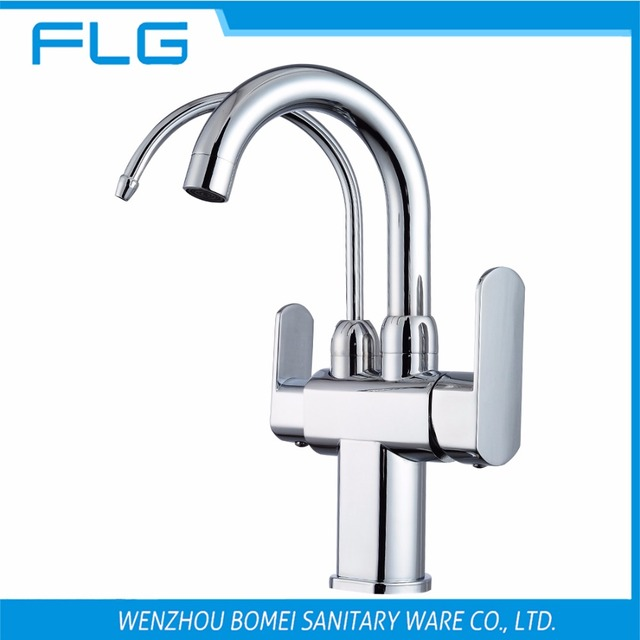 Free Shipping Brand NEW Kitchen Sink Faucet Tap Pure Water Filter Mixer  Double Handles Double Spout