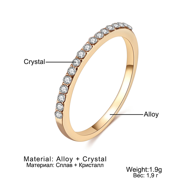 FAMSHIN Fashion Wedding Ring Crystal Zircon Rings Rose Gold Silver Color 4