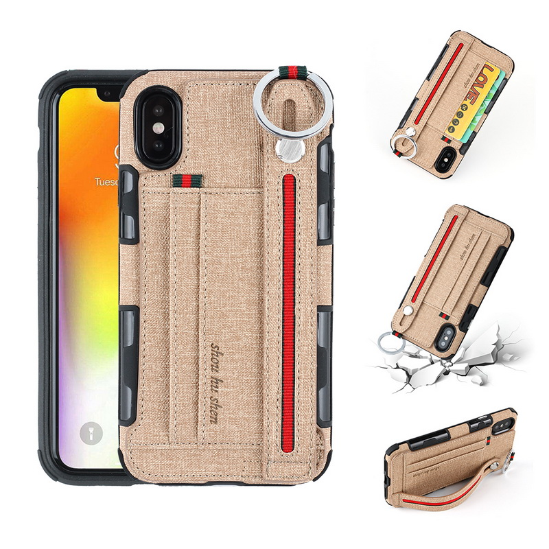 Fashion Hands Hang Rope Card Holder Phone Case for iPhone X 10 8 Plus Soft Silicone+PU Leather Cover for iPhone 7 6 6S Plus Capa